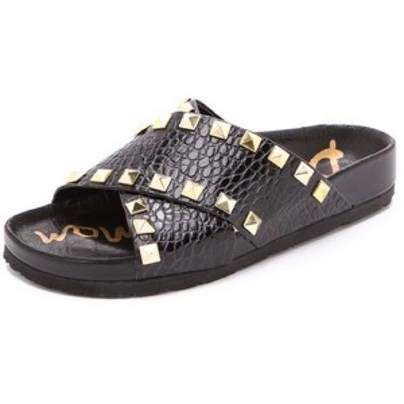 3bd26c60adae1 Sam Edelman arina gold studded slides sandals 7. M 55b5a145b909cf3f0100e962