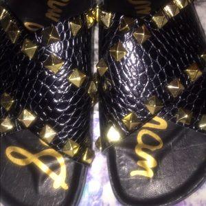 8881c82634ce5 Sam Edelman Shoes - Sam Edelman arina gold studded slides sandals 7