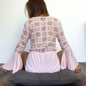 LF Dresses & Skirts - Lace Back Romper in Pink