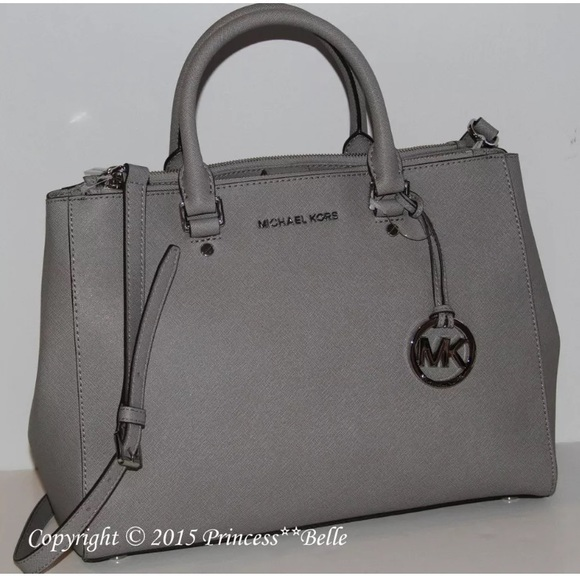 black and gray michael kors bag ya6d  large gray Michael Kors Sutton