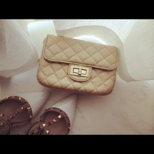 Handbags - ivory white quilted gold chain mini small bag