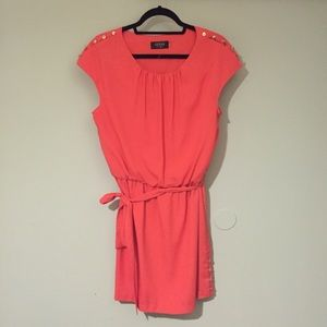 GUESS - coral belted dress with gold buttons