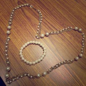 Gold Chain Pearl Necklace & Bracelet Set