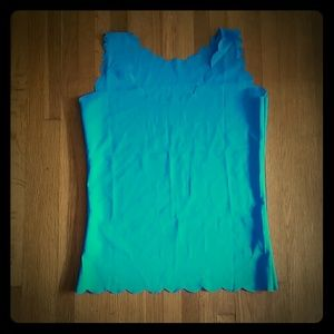 Tops - Blue scalloped tank top sz S