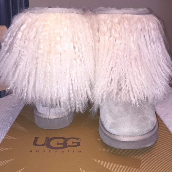 Authentic Gray Mongolian sheepskin cuff UGG boots