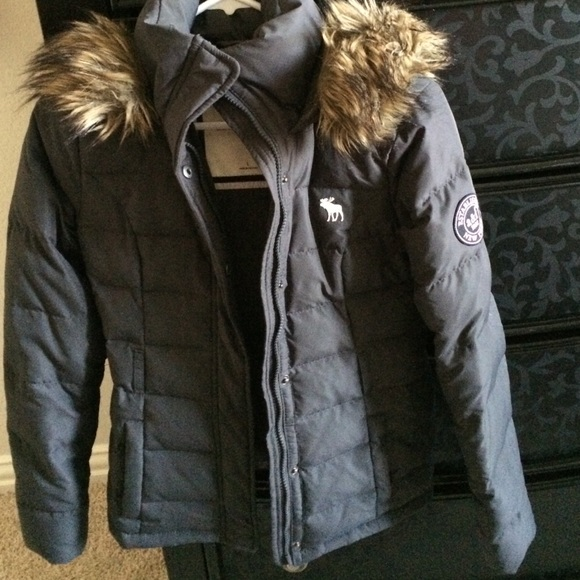 96% off Abercrombie & Fitch Outerwear - Grey winter jacket