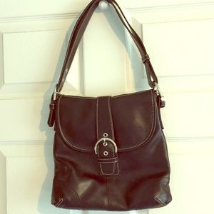 Belle Rose Italian leather Handbag Purse Black