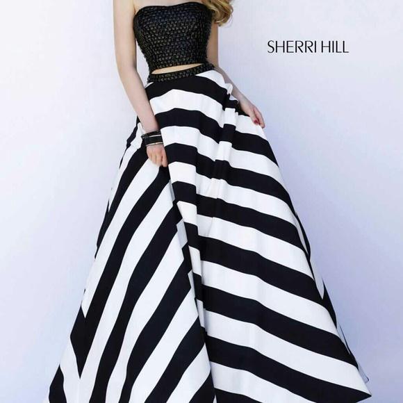 Sherri Hill Dresses   Stunning Blackwhite Dress Ball Gown   Poshmark