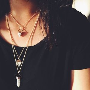 Marble Layered Charm Necklace