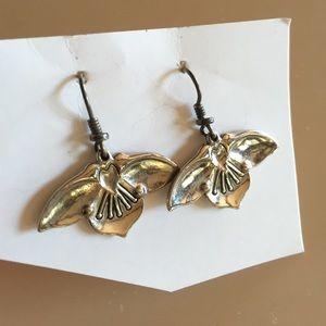 Laurel Burch Jewelry - Laurel Burch Silver Dangle Flower Fuchsia Earrings