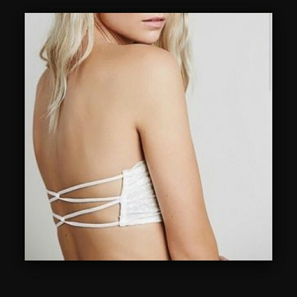 60% off Free People Tops - Free People Ivory Lace Strappy Bandeau ...