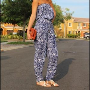 Lilly for Target blue and white jumpsuit