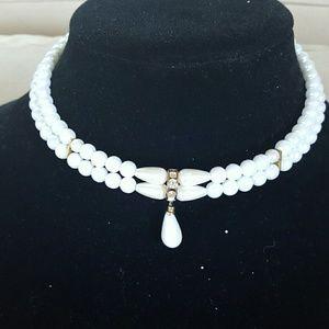 Faux white pearl choker