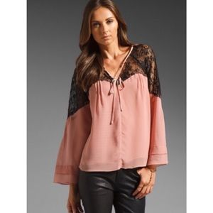 Wink Tops - WINK smoky pink + black lace boho blouse
