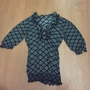 Gray and Black Plaid Shirt