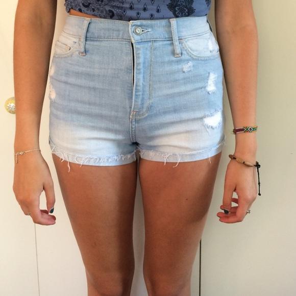 57% off Hollister Pants - Holster light wash high waisted shorts ...