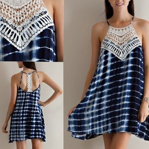 🆕Crochet neck halter tie dye dress