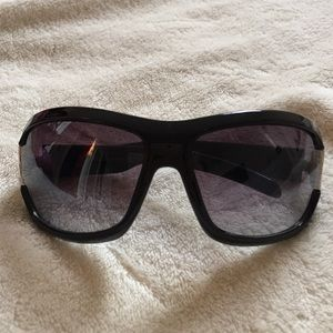Designer black frame sunglasses