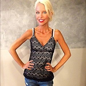 a. byer Tops - White empire waist tank with black crochet overlay