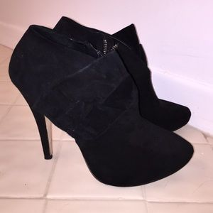 Suede Zara booties with bow