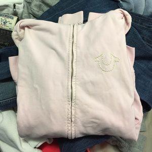 Light pink true religion zip up hoodie