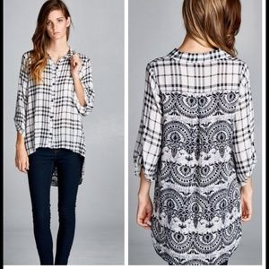 Button Down Mixed Print Top