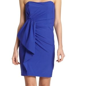 Nicole miller cobalt blue strapless dress