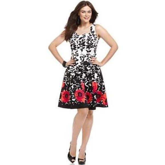 59% off Nine West Dresses & Skirts - Black/White/Red Floral A-Line ...