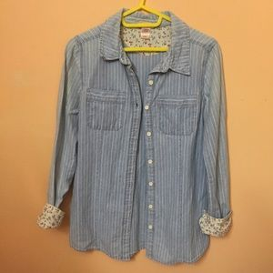 Striped light denim top