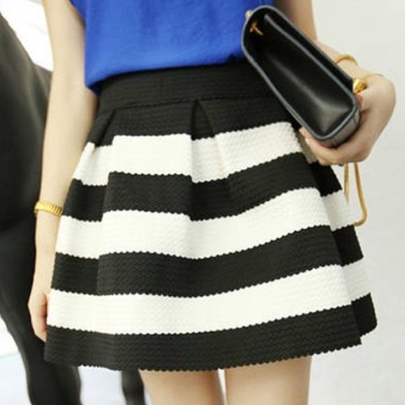 00fb00910d95 Skirts | Black White Stripe Bandage Fit Flare Skirt | Poshmark