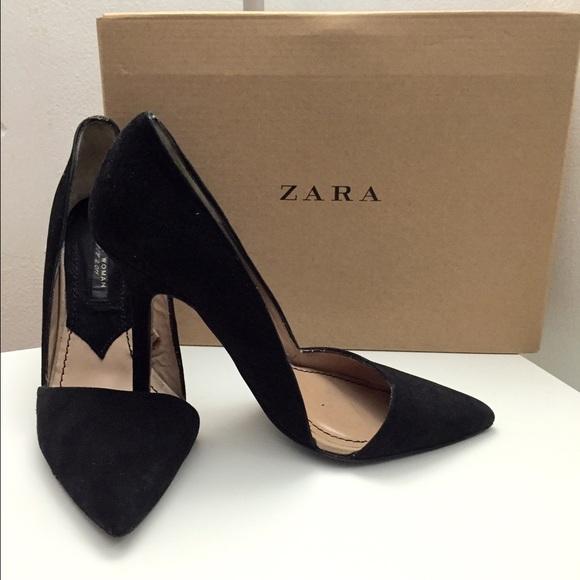 ea0f0b1a8585 ZARA asymmetrical court suede black heels shoes. M 55cf978da06f8048f400576c