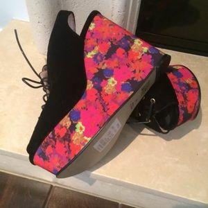 Topshop Black Velvet and Floral Wedges