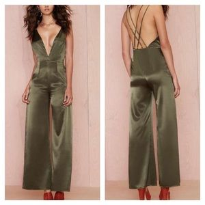 Other - 👗FINAL PRICE👗Hunter Green Satin Jumpsuit