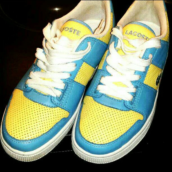 0c682d7634a8f3 Lacoste Shoes - Blue and Yellow Lacoste Sneakers