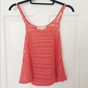 Urban Outfitters coral crochet-like tank top