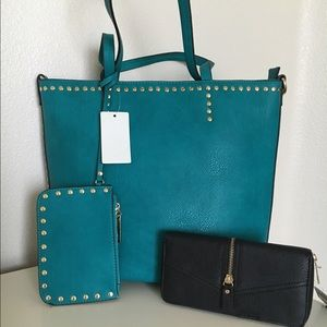 NEW Dark aqua studded tote, wallet not included.