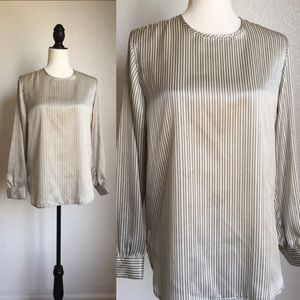 Tops - 🎉😊 Boutique gray and white stripped blouse!