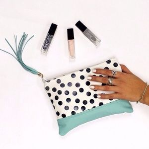 Polka Dot / Tiffany blue™ Leather Clutch