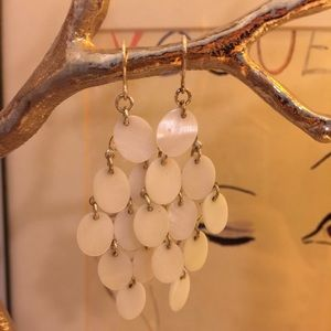 White Capiz chandelier earrings