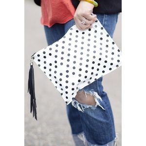 ellebee206 Handbags - Oversized Polka Dot Leather Clutch