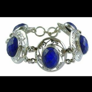 Sterling Silver Lapis Lazuli Chunky Bracelet