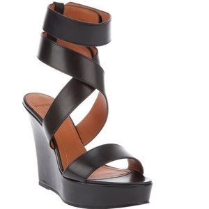 Givenchy Shoes - GIVENCHY Black Leather Gladiator Wedge/Heel/Sandal