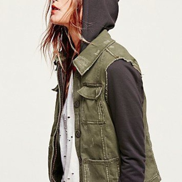 50% off Free People Jackets & Blazers - Green and Black Free ...