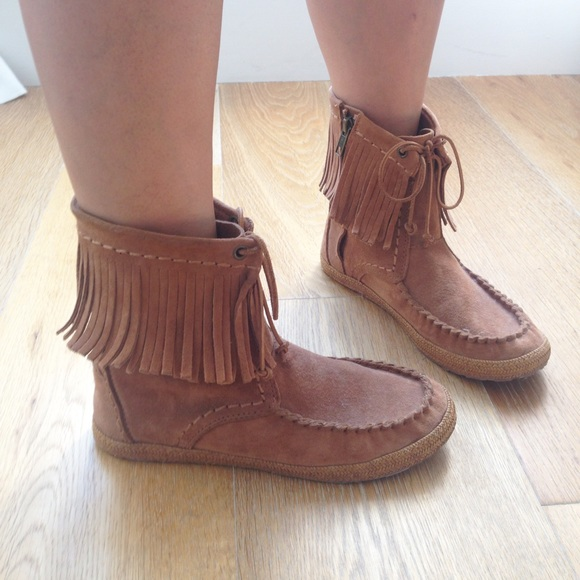 71% off UGG Shoes - UGG Kaysa Fringe Moccasin Boots from Lynnie's ...
