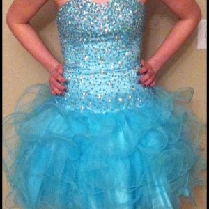 Strapless Turquoise sequins Dress. Sherri Hill