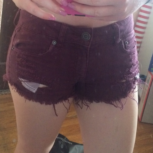 50% off American Eagle Outfitters Denim - Maroon ripped American ...