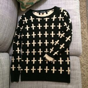 F21 black with off white crosses sweater