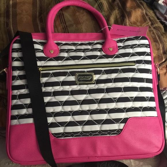 Betsey Johnson Bags Stripe Laptop Case Pink Black White