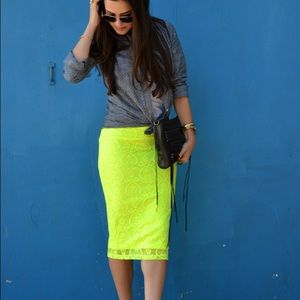 ASOS Dresses & Skirts - Neon Yellow Lace Skirt