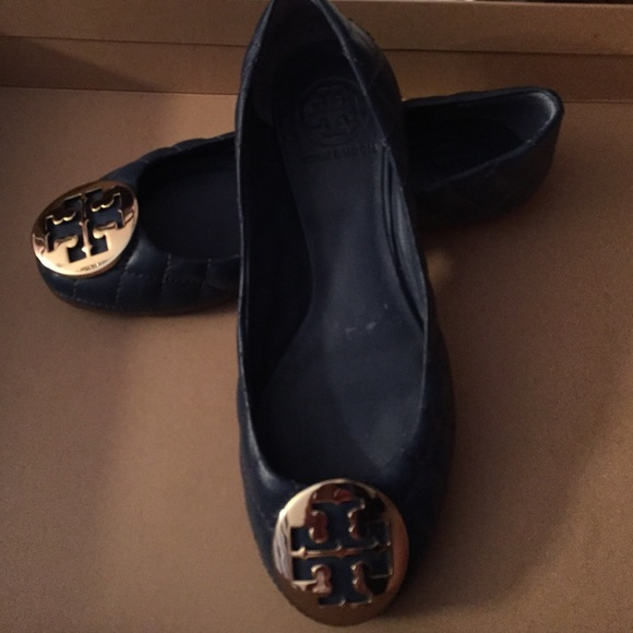 Navy Blue Tory Burch Quilted Flats